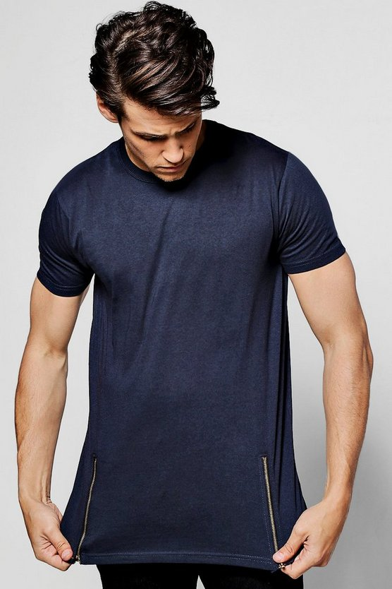 Longline T-Shirt With Front Zips