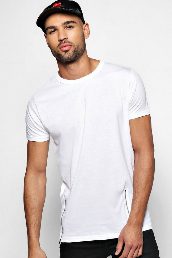Longline T Shirt With Front Zips