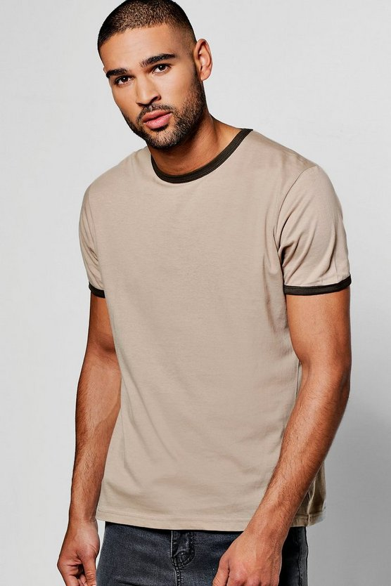 Crew Neck Regular Fit Ringer T Shirt