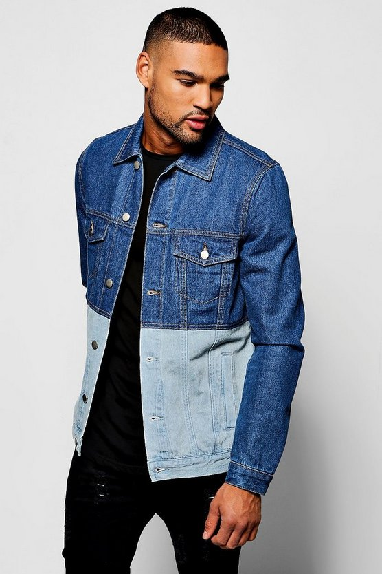 Mid Blue Half & Half Denim Jacket