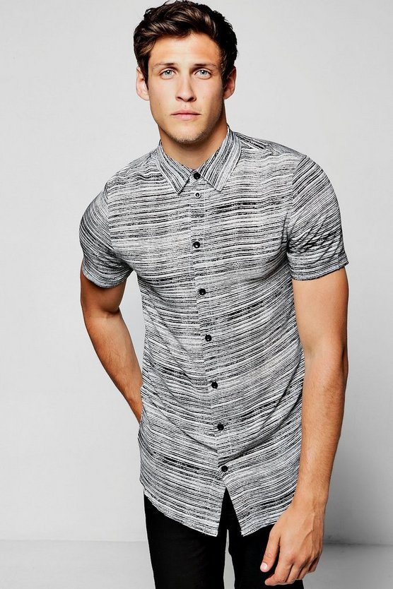 Black Grain Stripe Short Sleeve Shirt