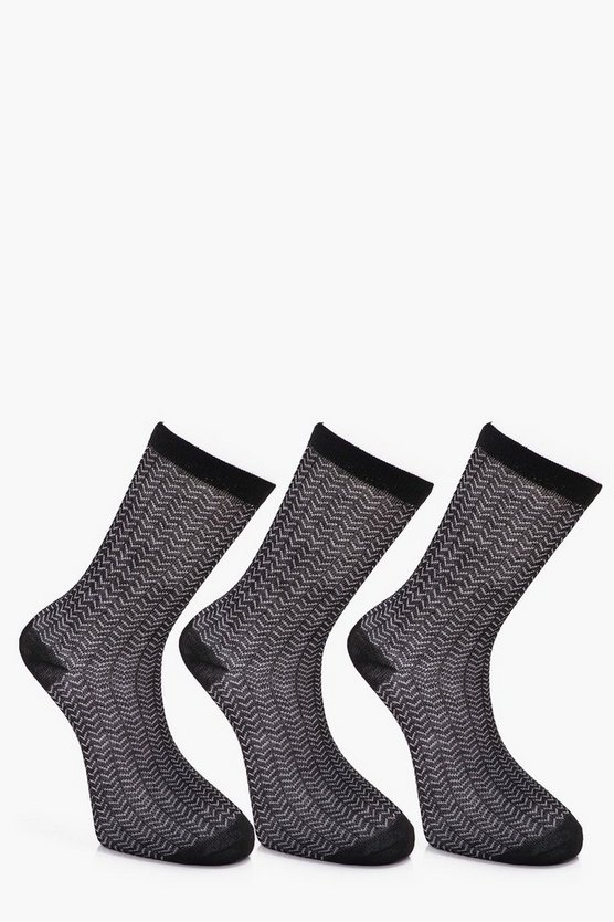 3 Pack Herringbone Socks