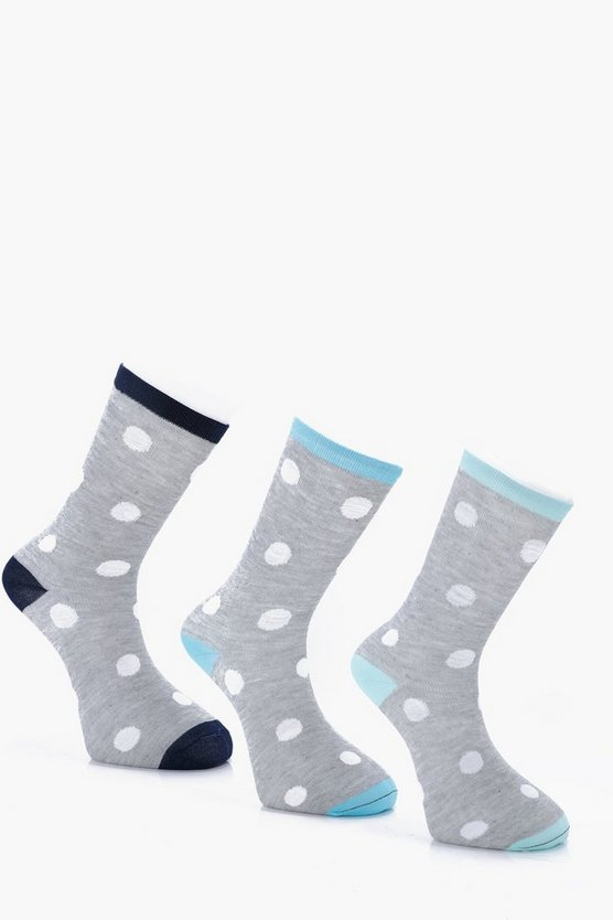 3 Pack Large Dots Socks With Contrast Heel
