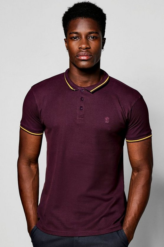 Short Sleeve Polo With Sports Trim In Pique