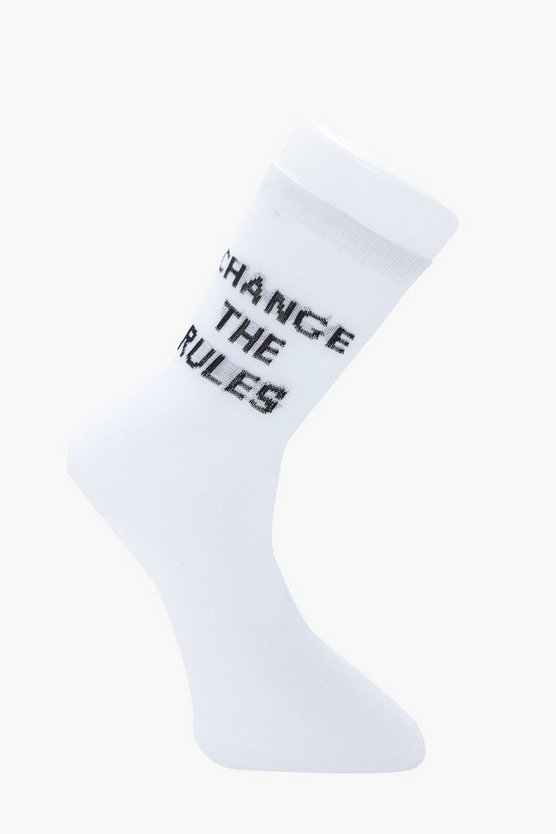 chaussettes à slogan change the rules