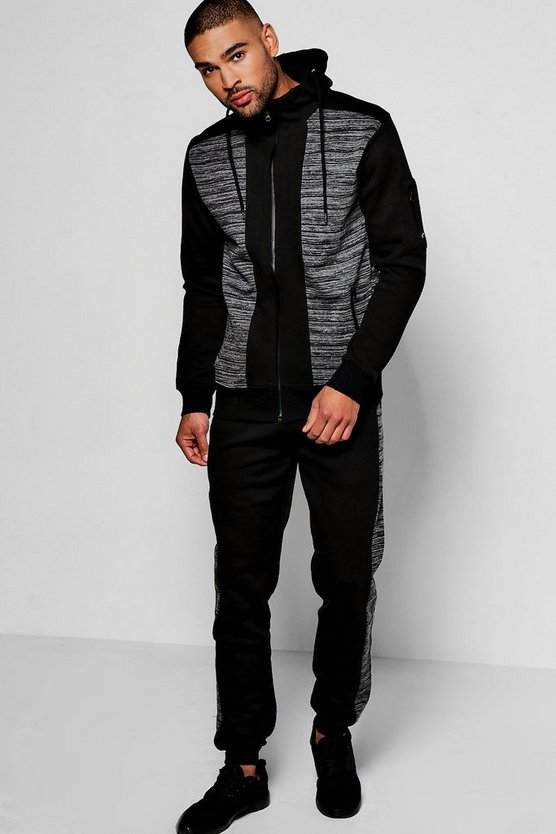 Skinny Fit Space Dye Hooded Tracksuit