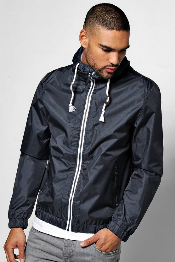 Navy Shower Resistant Zip Through Hooded Cagoule