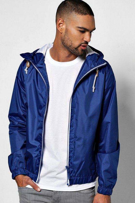 Royal Blue Shower Resistant Zip Through Hooded Cagoule