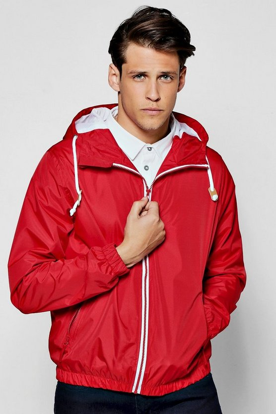 Red Shower Resistant Zip Through Hooded Cagoule