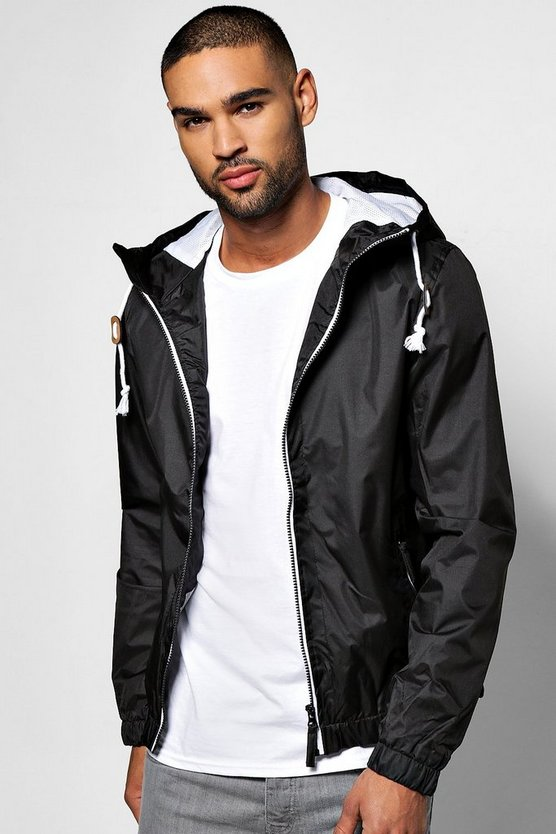 Black Shower Resistant Zip Through Hooded Cagoule