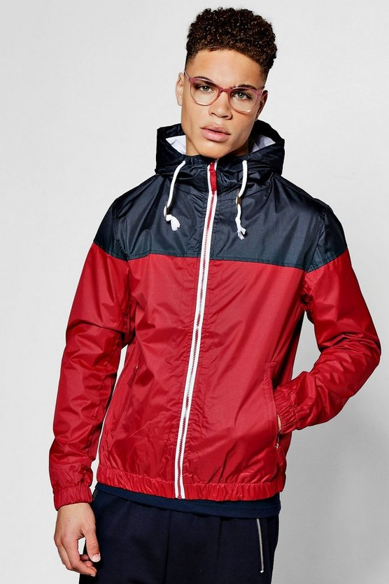 Red Shower Resistant Colour Blocked Hooded Cagoule
