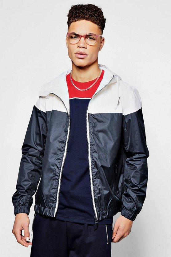 Navy Shower Resistant Colour Blocked Hooded Cagoule