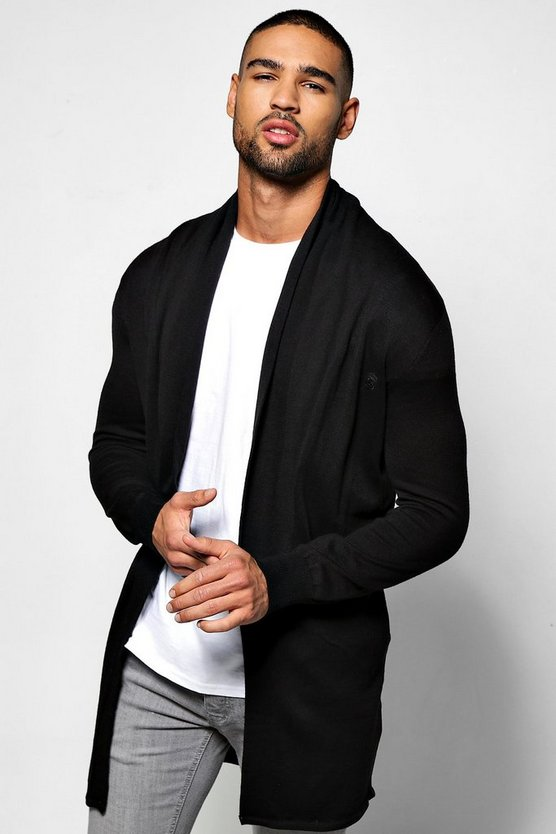 Plain Black Longline Fine Gauge Knitted Cardigan