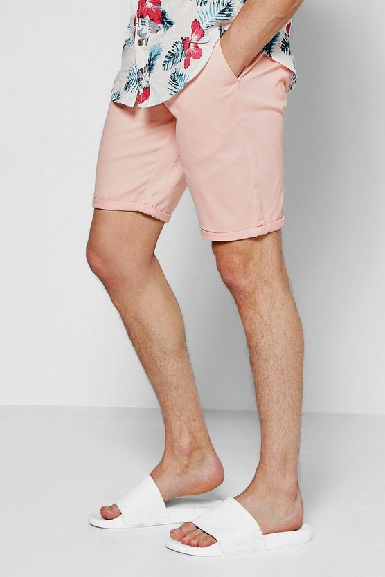 Pink Skinny Fit Chino Shorts With Turn Up