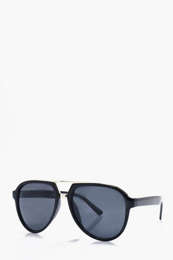 Black And Gold Frame Aviator Sunglass