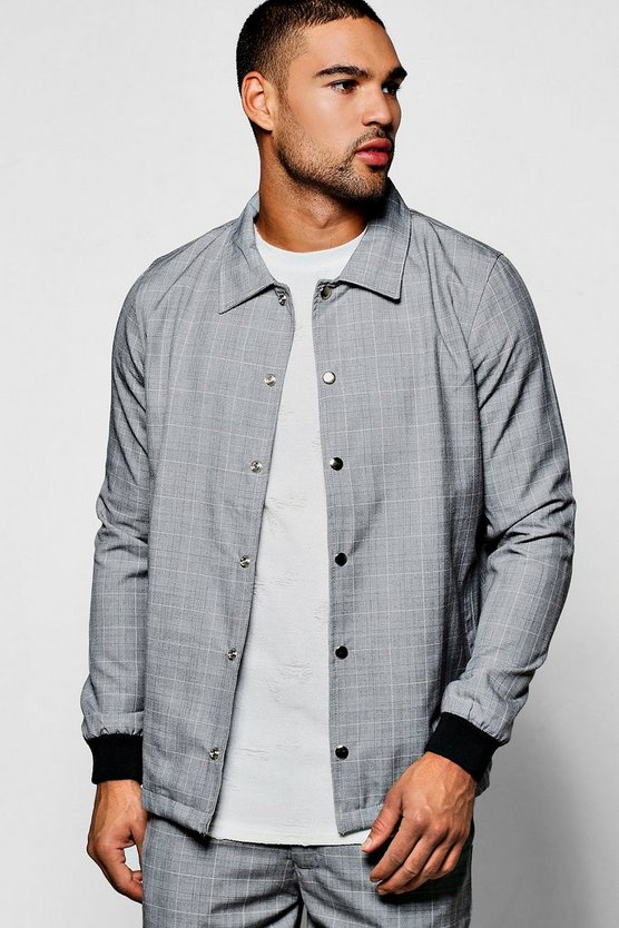Grey Check Tailored Coach Jacket