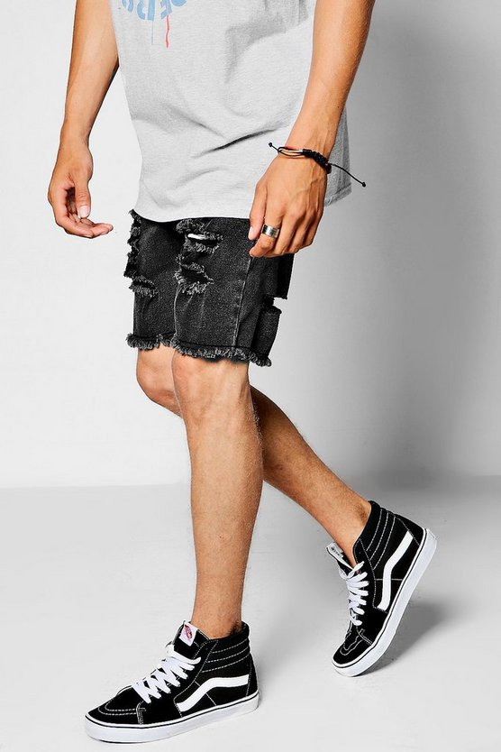 Black Super Skinny Ripped Raw Edge Denim Shorts