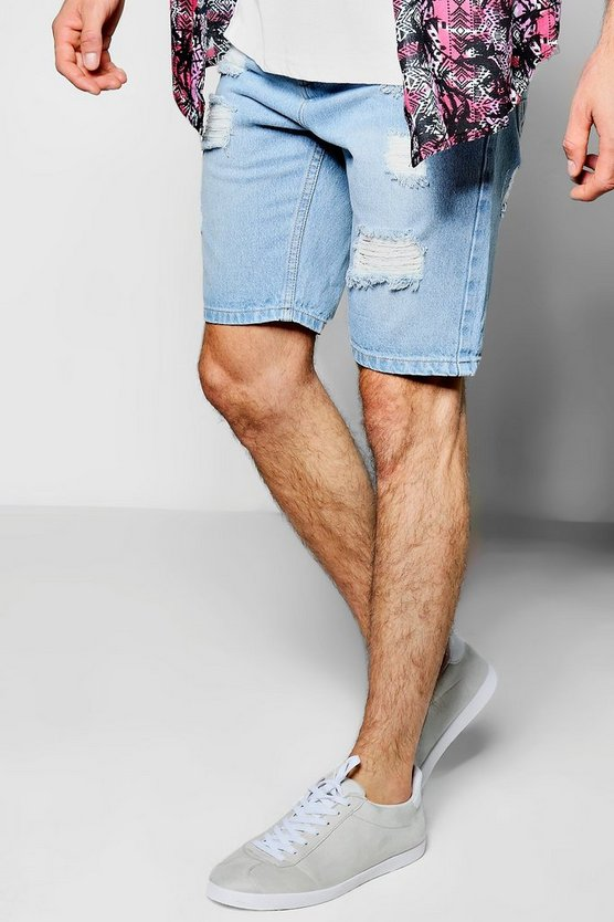Skinny Fit Ripped Rigid Denim Shorts