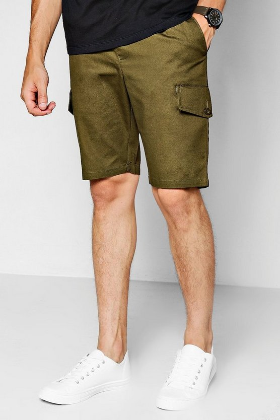 Khaki Slim Fit Cargo Short