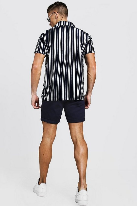 Navy Slim Fit Chino Short by Boohoo
