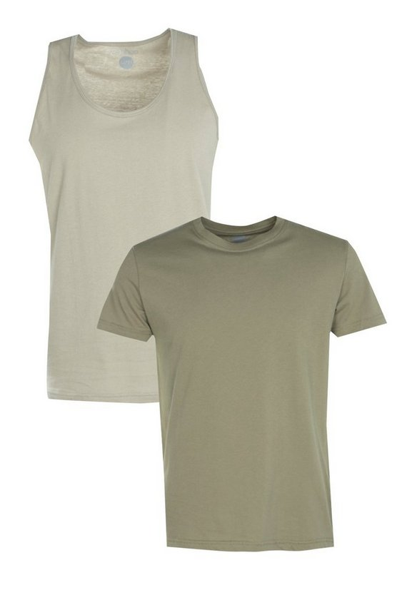 2 Pack Basic T-Shirt And Basic Vest