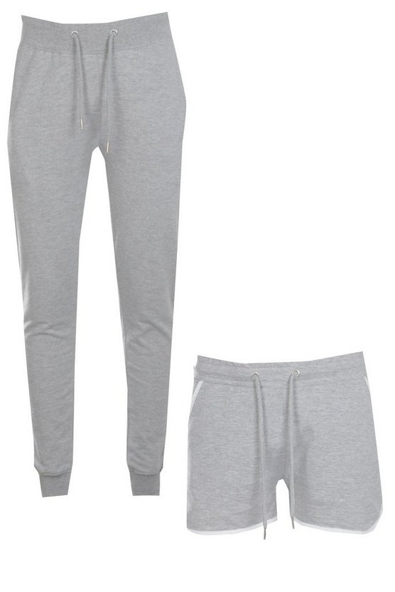 2 Pack Jersey Shorts And Slim Joggers