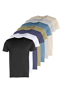 7 Pack Crew Neck T Shirts Muscle Fit