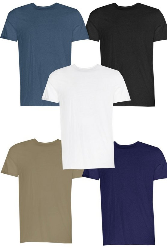 5 Pack Crew Neck T-Shirt With Rolled Sleeve