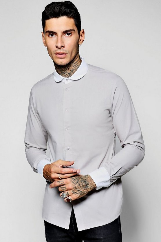 Long Sleeve Contrast Penny Collar Shirt