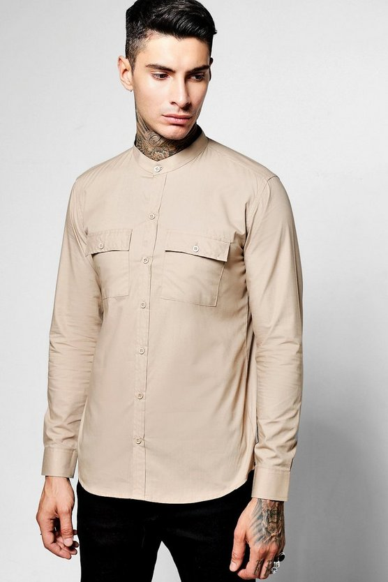 Long Sleeve Double Pocket Shirt In Skater Length