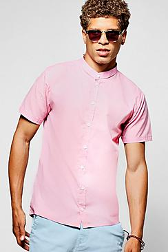 Short Sleeve Grandad Collar Shirt Slim Fit