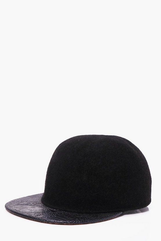 Black Wool Look Contrast Peak Snap Back