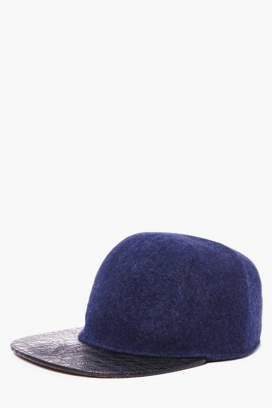 Navy Wool Look Contrast Peak Snap Back Cap