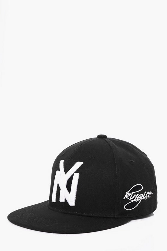 Black NY Embroidered Snapback Cap