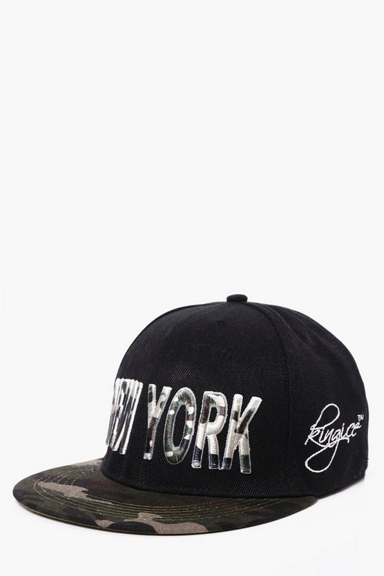 Camo Contrast Peak New York Snap Back Cap