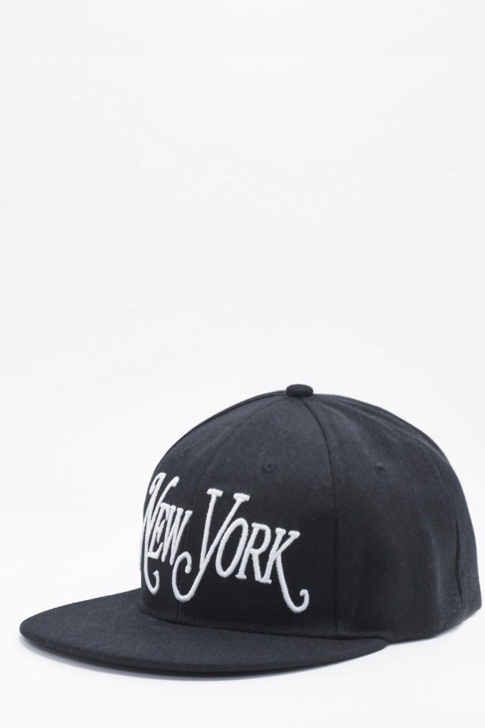 New York Embroidered Snap Back Cap - black - Black