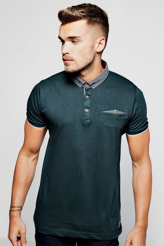 Polo T-Shirt wth Woven Button Down Collar
