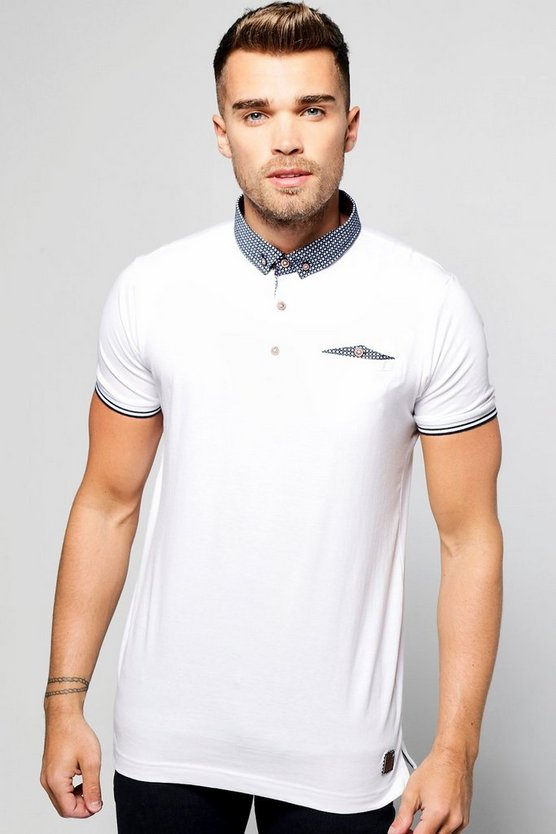 Polo T-Shirt with Woven Button Down Collar