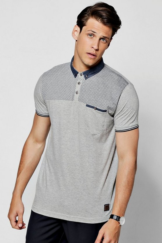 Contrast Yoke with Woven Collar Polo