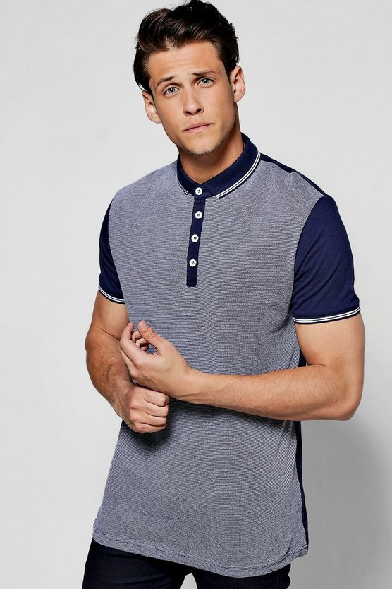 Jacquard Front Jersey Polo