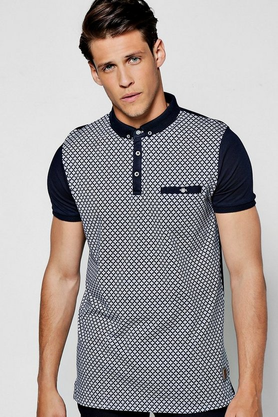Geo Front Button Down Jersey Polo