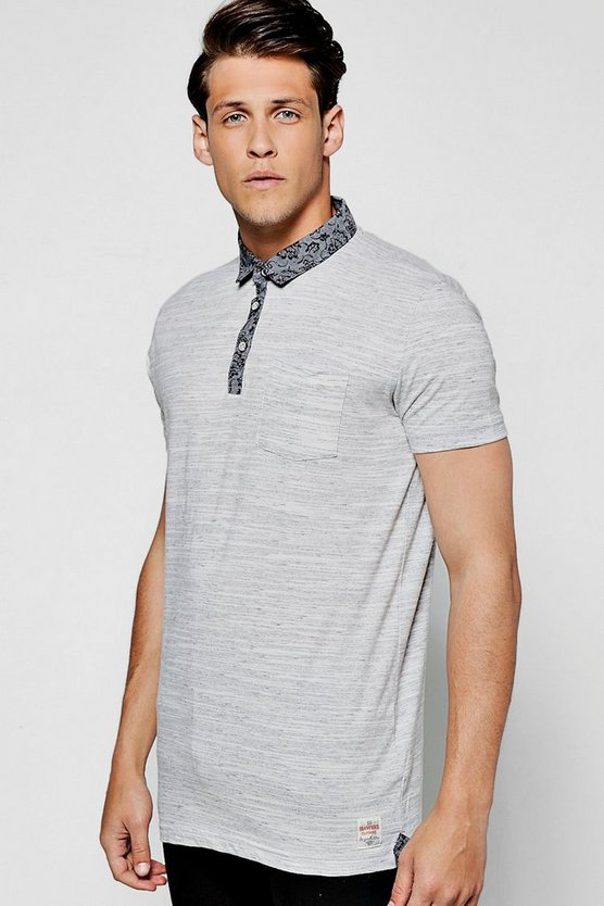 T-shirt polo effetto space dye con colletto in chambray