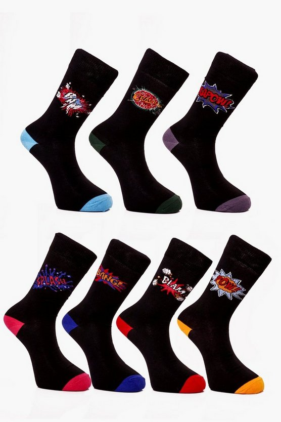 7 Pack Comic Book Socks