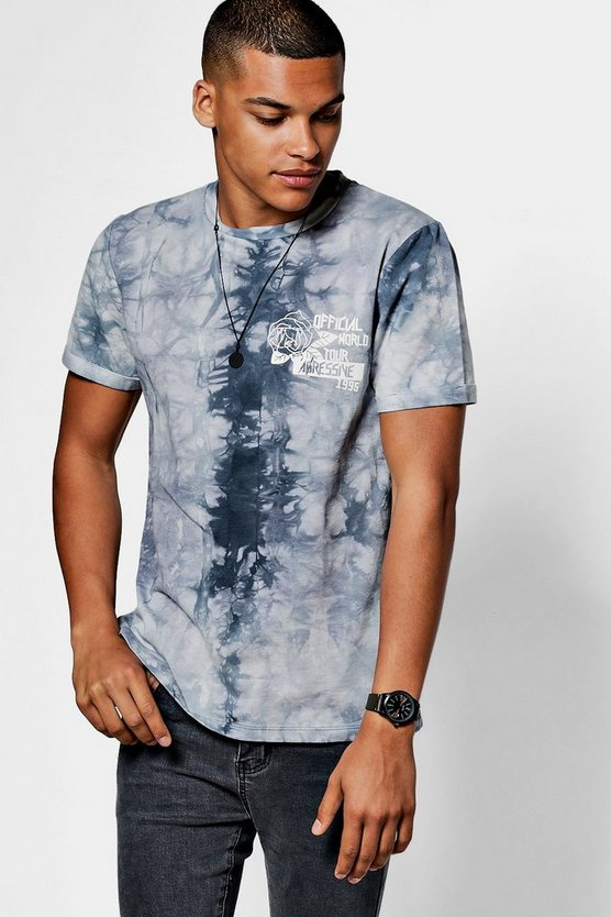 T-Shirt in Batik-Optik mit Print