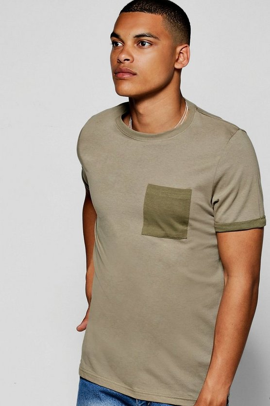 Contrast Pocket Turn Up T-Shirt