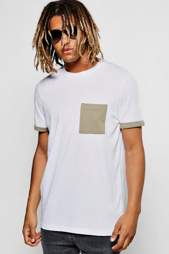 Contrast Pocket Turnt Up T-Shirt