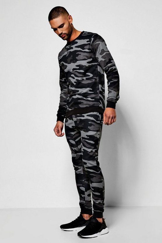 Green Camo Crew Neck Sweater Tracksuit