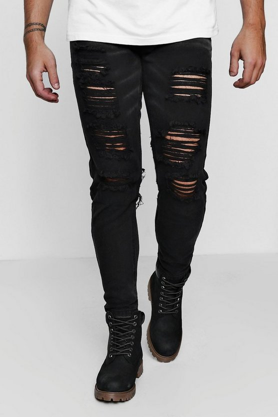 Black Denim Skinny Fit Jeans with Extreme Back Rips