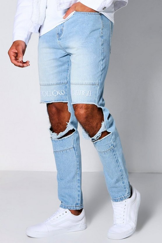 Embroidered Unfollow Disorder Skinny Jeans