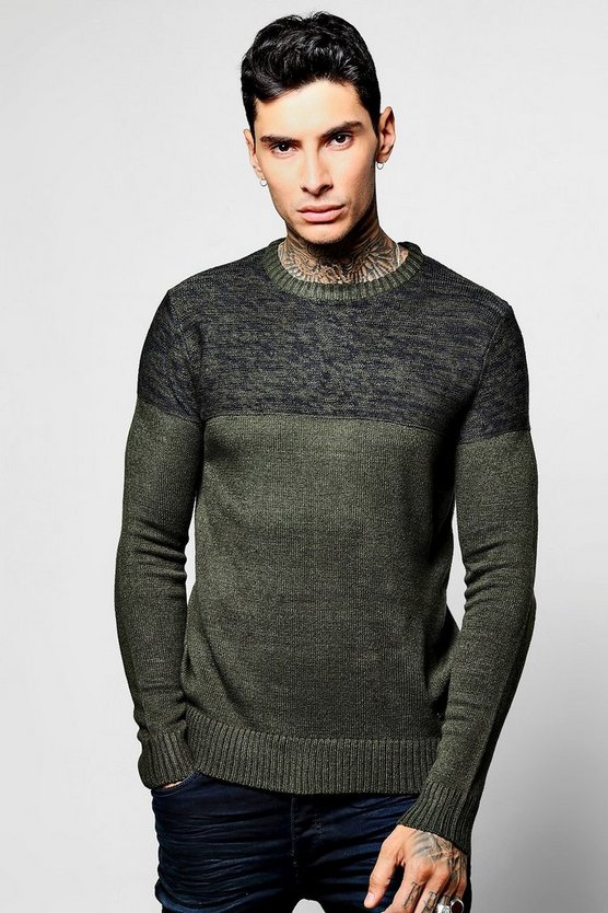 Crew Neck Jumper with Contrast Space Dye
